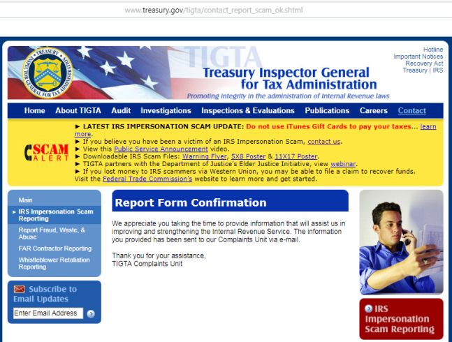 16_TREASURY TIGTA_01 20 2018 SAT_IRS CALL SCAM REPORTED