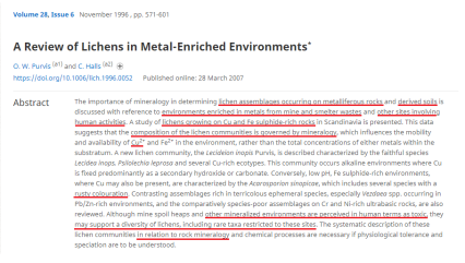A REVIEW OF LICHENS IN MINERAL RICH ENVIRONMENTS - Copy