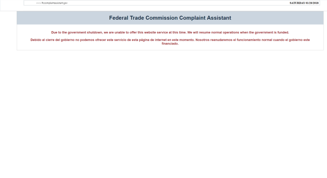 CURIOUS TIMING FTC SITE DOWN CONCOMITANT TO FRAUD PUSH