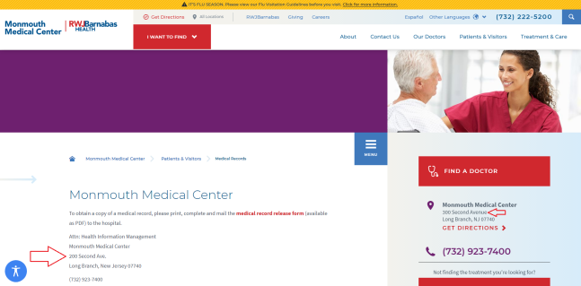OH LOOK MONMOUTH MEDICAL CENTER NOW PART OF RWJ NOT SAME AS FROM PRIOR MONTHS COVER UP UNDERWAY