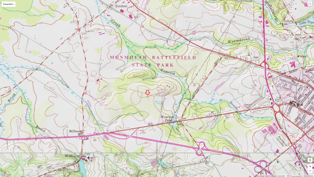 TOPOGRAPHIC RENDITION OF MONMOUTH BATTLEFIELD STATE PARK