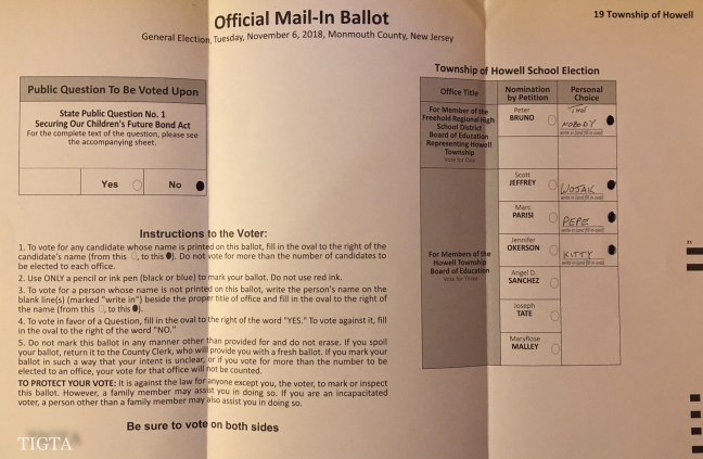 OFFICIAL MAIL IN-BALLOT TWO-THOUSAND EIGHTEEN