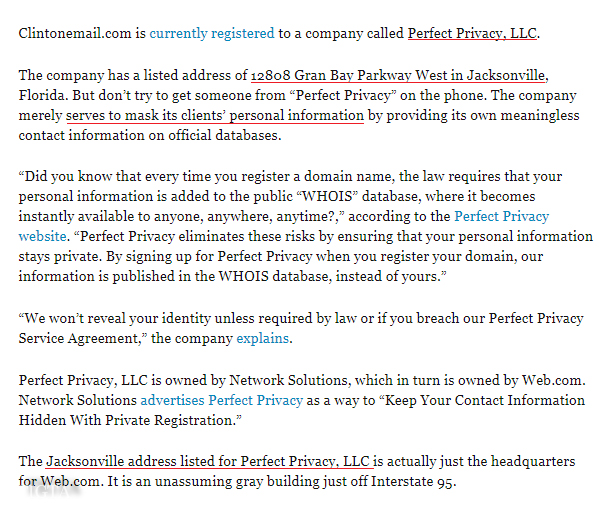 BREITBART ON PERFECT PRIVACY IN TWENTY FIFTEEN JACKSONVILLE OFFICE