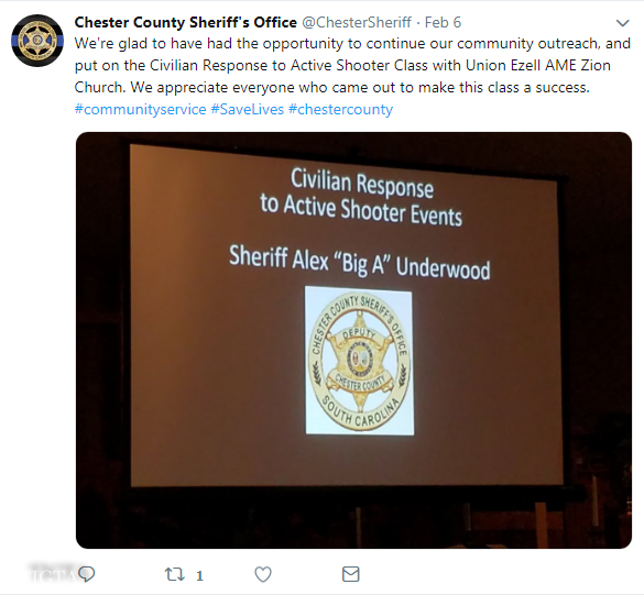 CHESTER COUNTY SC SHERIFF CIVILIAN RESPONSE TO ACTIVE SHOOTER EVENTS