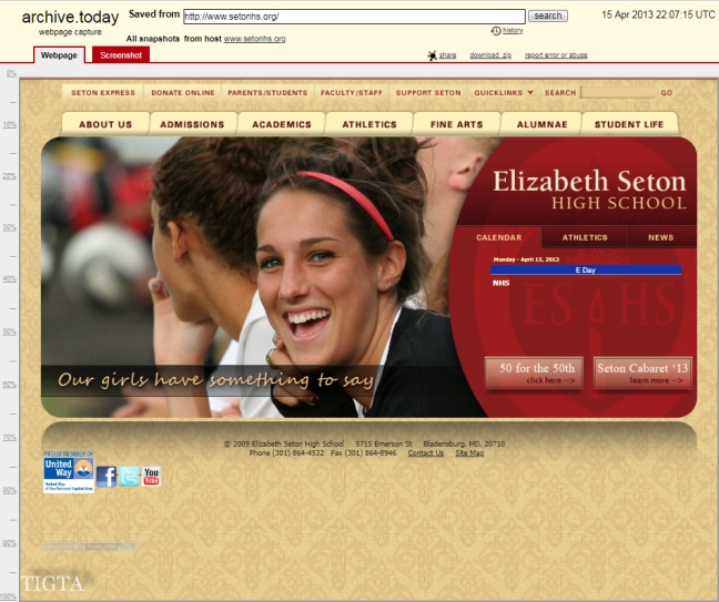 ELIZABETH SETON HIGH SCHOOL ON SAME NAMESERVER AS BERGER CLINIC