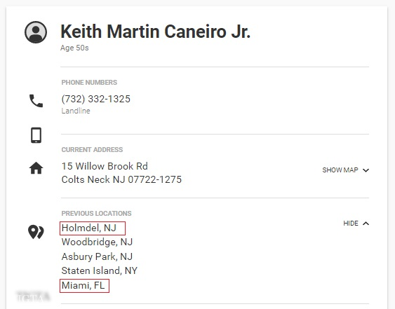 KEITH MARTIN CANEIRO JR WHITE PAGES POSSIBLE FORMER RESIDENCE IN HOLDMEL NJ ALSO NOTABLY MIAMI FL