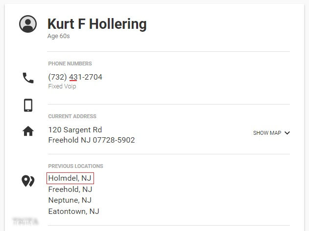 KURT F HOLLERING WHITE PAGES PREVIOUS LOCATON HOLMDEL NJ