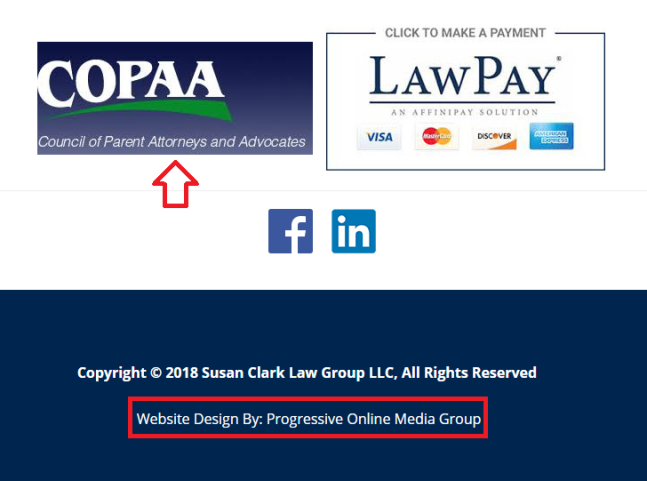 SUSAN CLARK LAW GROUP WEBSITE FOOTER PROGRESSIVE ONLINE MEDIA GROUP AND COUNCIL OF PARENT ATTORNEYS AND ADVOCATES