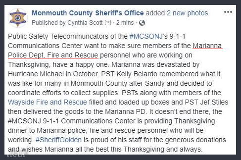 TWENTY ONE NOVEMBER TWEET FROM MONMOUTH COUNTY SHERIFFS OFFICE AND MARIANNA FLORIDA POLICE DEPARTMENT FIRE AND RESCUE